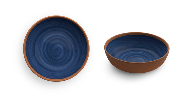 Melamine Soup Plate Natural Blue 2 PCS