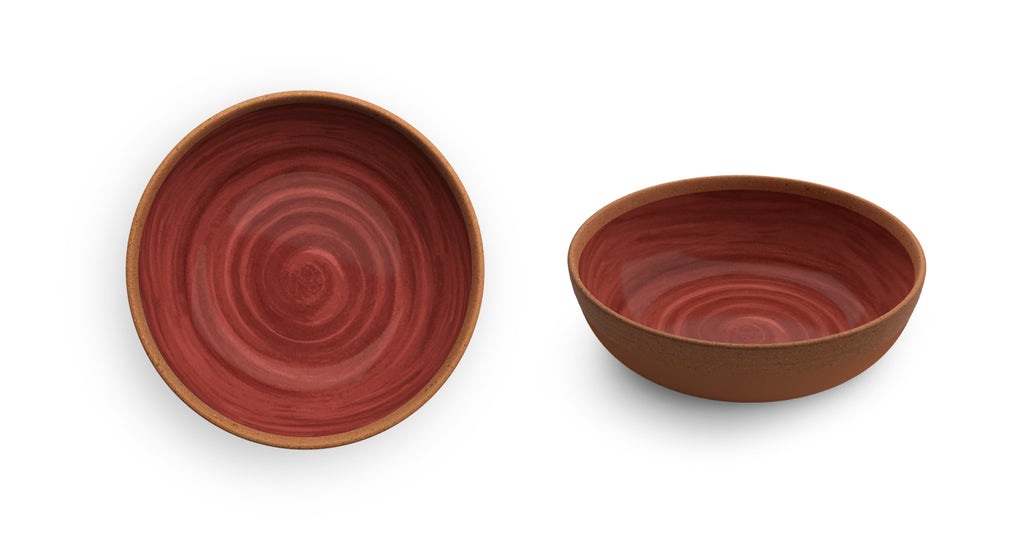 Melamine Soup Plate Natural Red 2 PCS