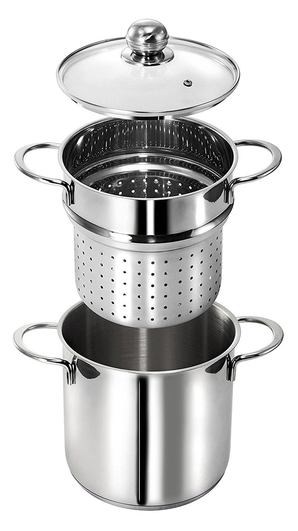 Stainless Steel Set For Pasta 9 1/2 Inc With Glass Lid