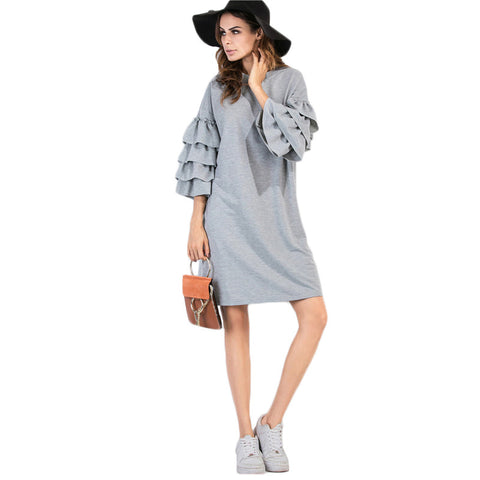 82973 Ruffle Sleeve Casual Dress