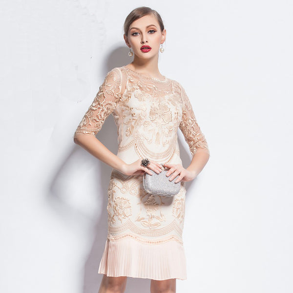 82655 Vintage Half Sleeve Lace Dress