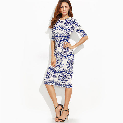 82874 Porcelain Print Slim Pencil Dress