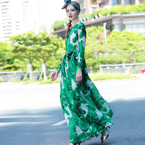 82796 Palm Leaves Print Green Dress