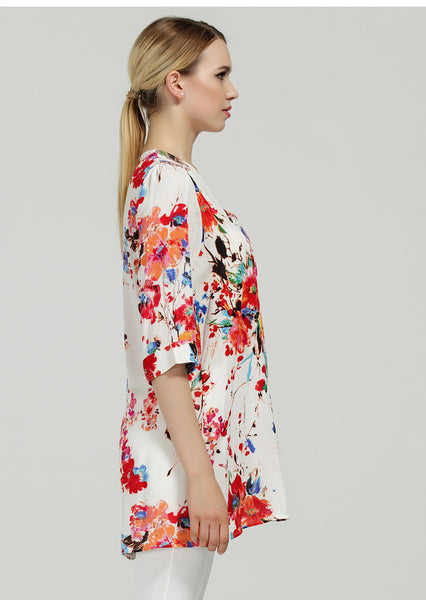 72853 Summer Floral Print Blouse