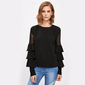 76552 Tiered Bell Sleeve Office Top