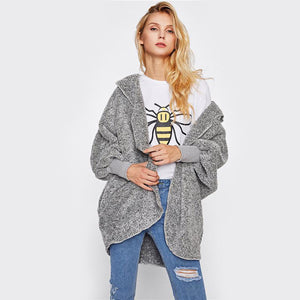 61533 Wide Cuff Hooded Fluffy Coat