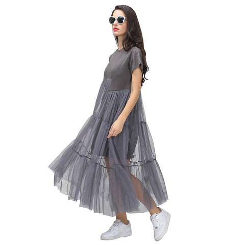 82576 Korean Style Pleated T-Shirt Dress