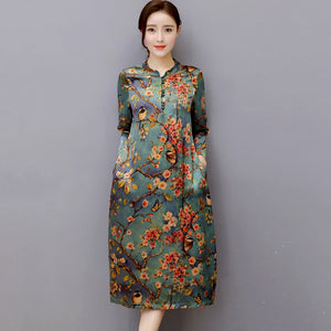 82359 Vintage Faux Silk Dress