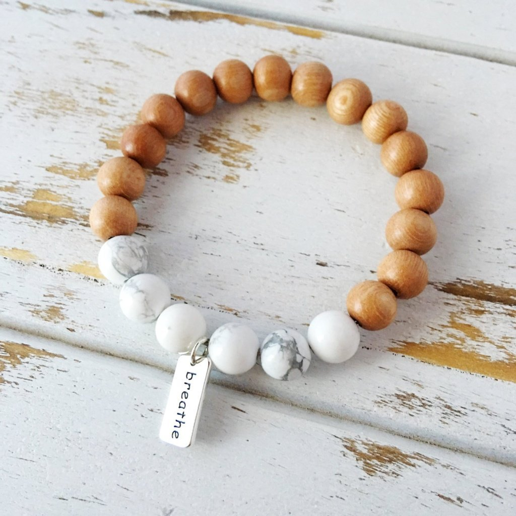 A Peace of Mind Jewelry & Boutique Women - Jewelry - Bracelets I Am Calm Bracelet, White Howlite & Sandalwood Bracelet