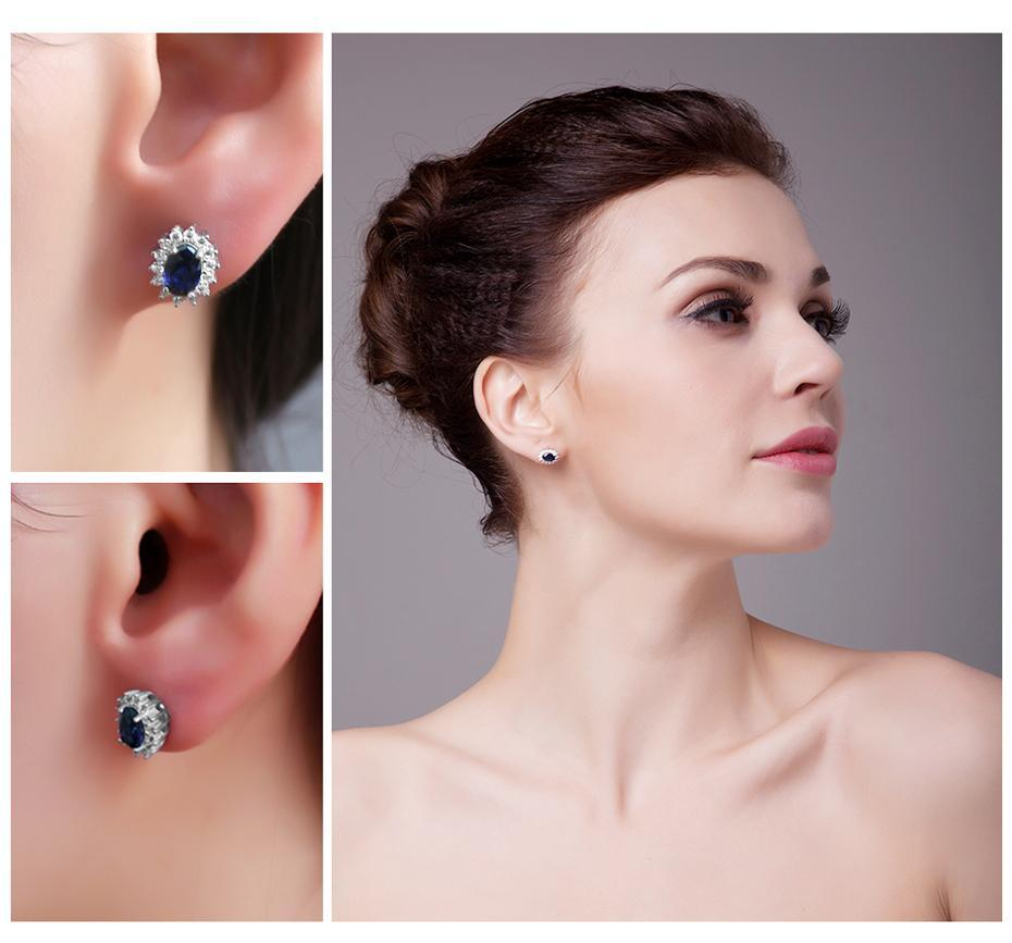 du deals dr Earrings Blue Sapphire Sterling Silver Earring