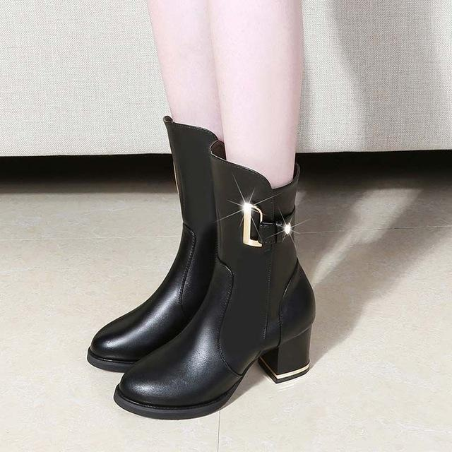 37ed39901fc2 Fashion Brand Best Service Black   4.5 Martina Gold Buck Ankle Boots ...