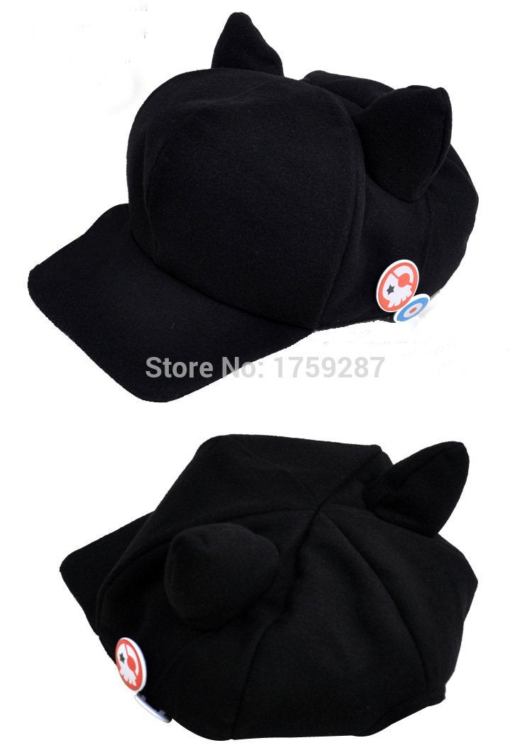 ImbibeInk 's Store Halloween Anime Neon Genesis Evangelion EVA Asuka Langley Soryu Cat Ears Hat Cosplay Costume Polar Fleece Plush Cap With Badges
