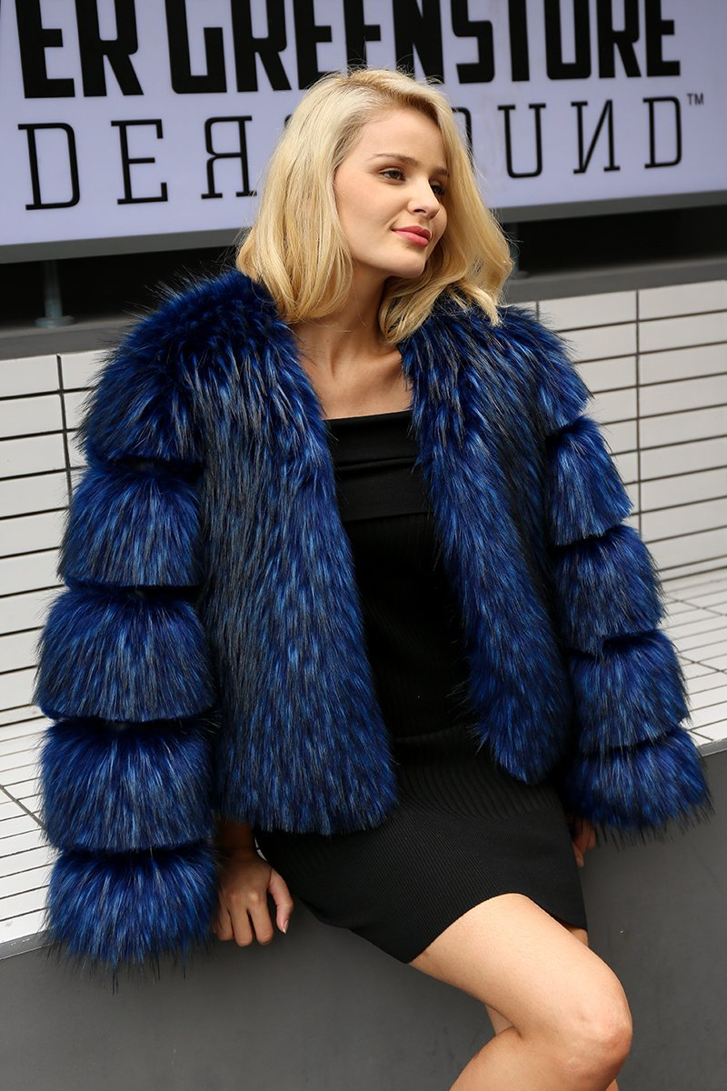 Simplee Apparel Chic Blue Fur Jacket