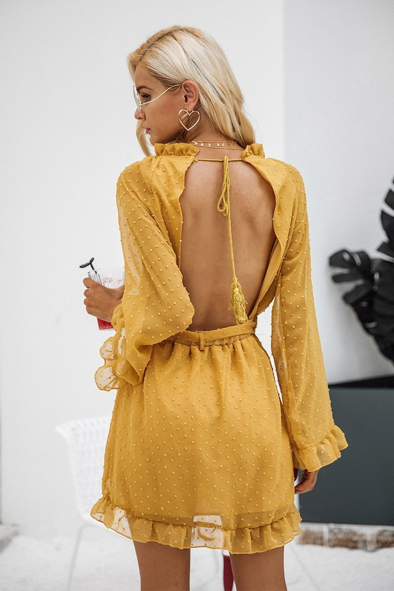 Simplee Apparel Dresses Elegant Stringy Pin Gold Dress