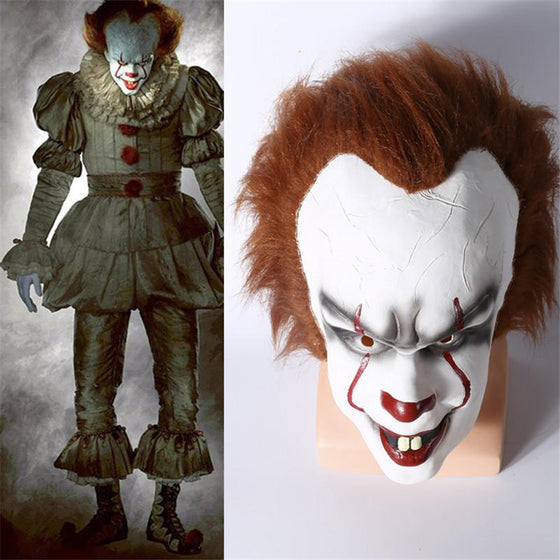 Men/'s 2017 Pennywise Costume IT Cosplay Scary Clown Halloween Fancy Dress XS-XL