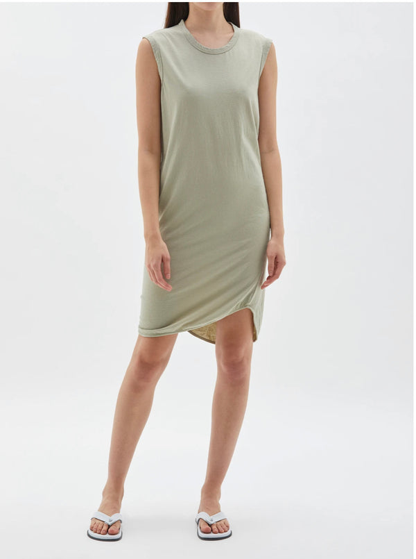 Fitted Muscle Tank Dress in Sedative Sage by Bassike