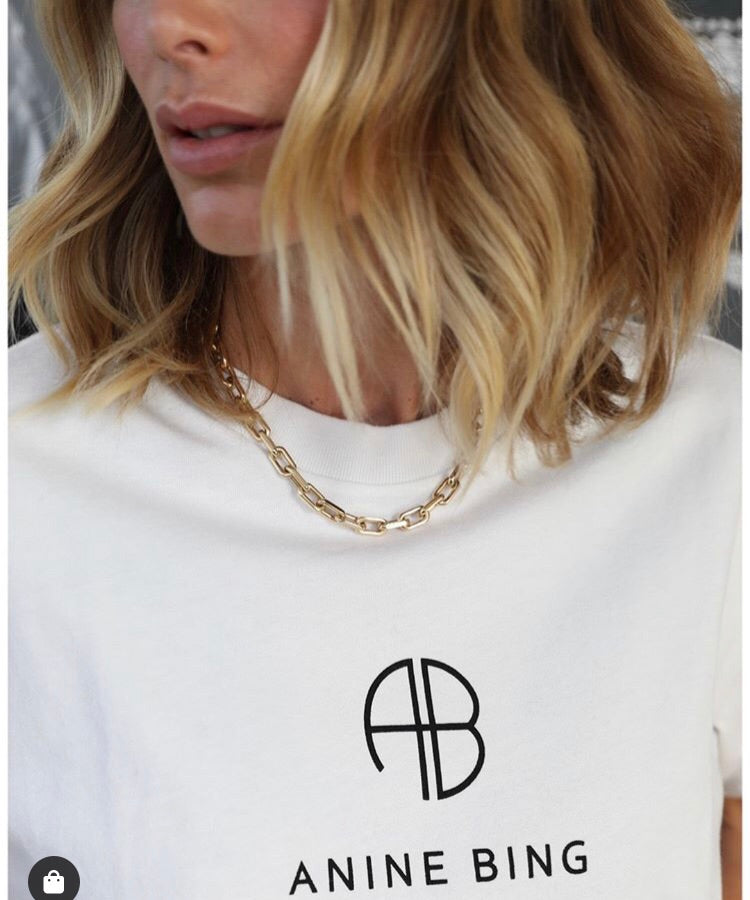Hudson Tee Monogram - Optic White by Anine Bing