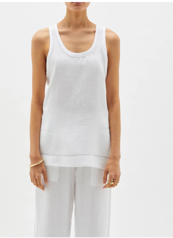 Linen Slouch Tank in White