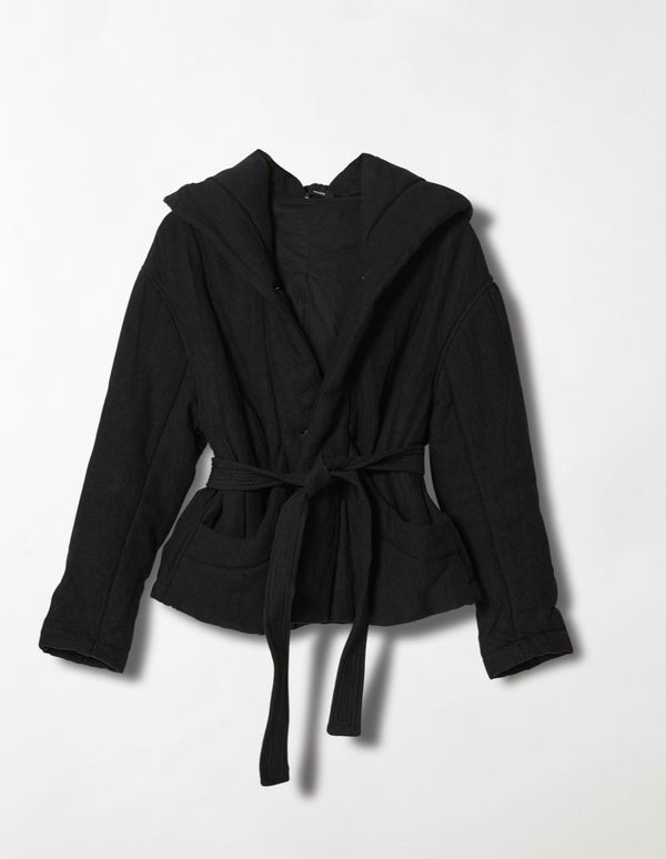 Wadded Hooded Wrap Jacket by Bassike