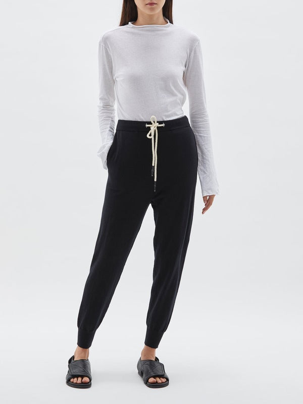 Cotton Knit Track Pant in Black by Bassike