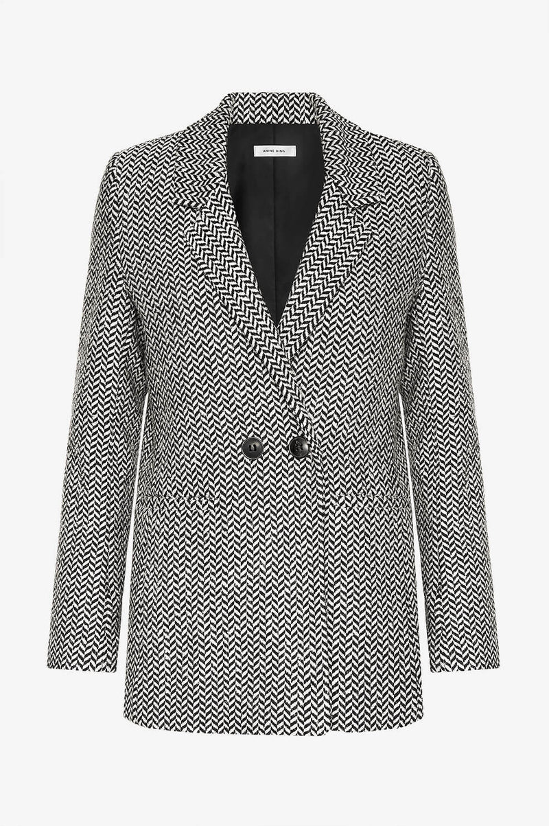 Fishbone Blazer in Black/Off White by Anine Bing