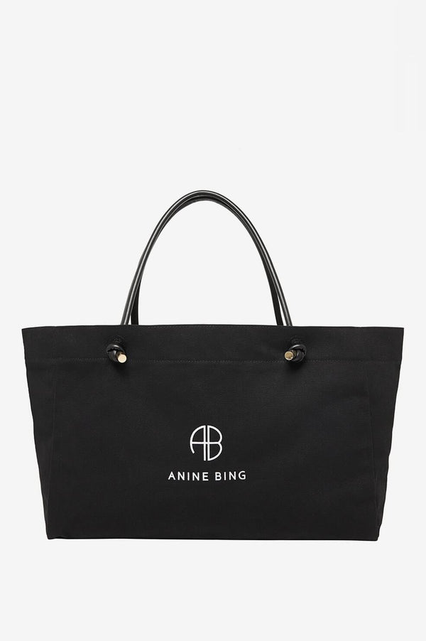 Saffron Medium Tote Bag in Black by Anine Bing