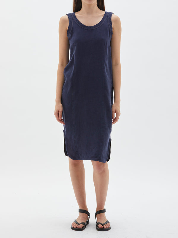 Contrast Back Scoop Tank Dress in Deep Indigo