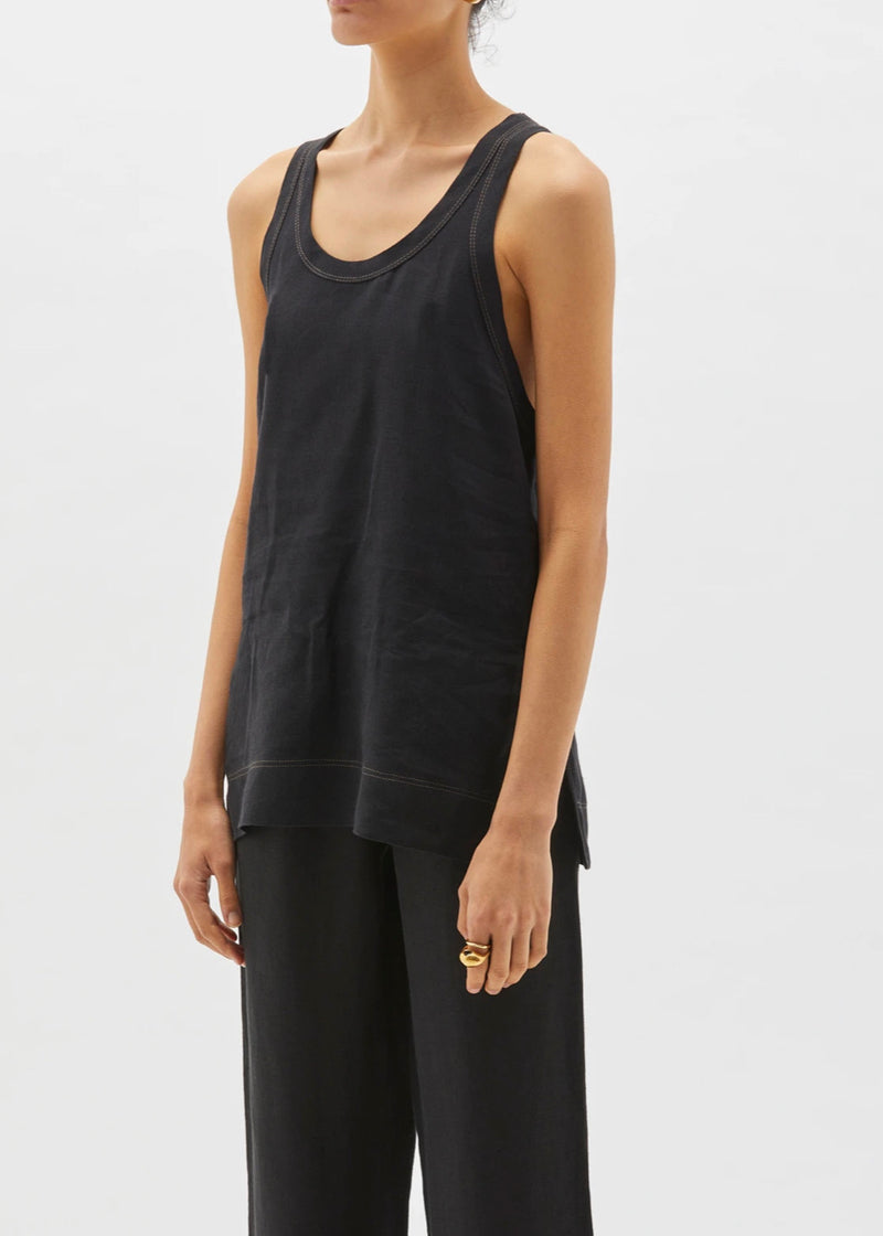 Linen Slouch Tank in Black