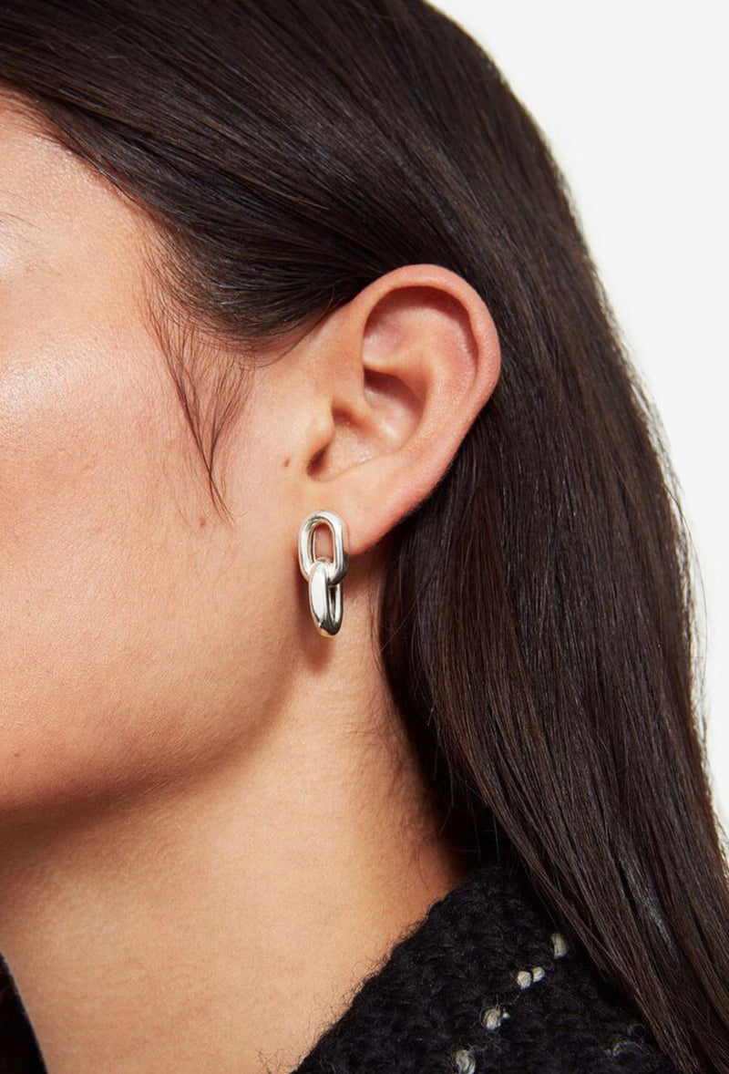 Link Drop Earrings in Silver by Anine Bing