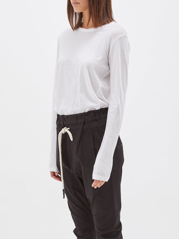 Heritage Scoop Hem Long Sleeve T-Shirt - White by Bassike