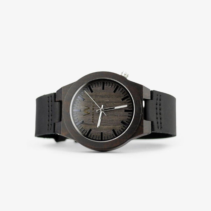 ebony wood watch leather strap