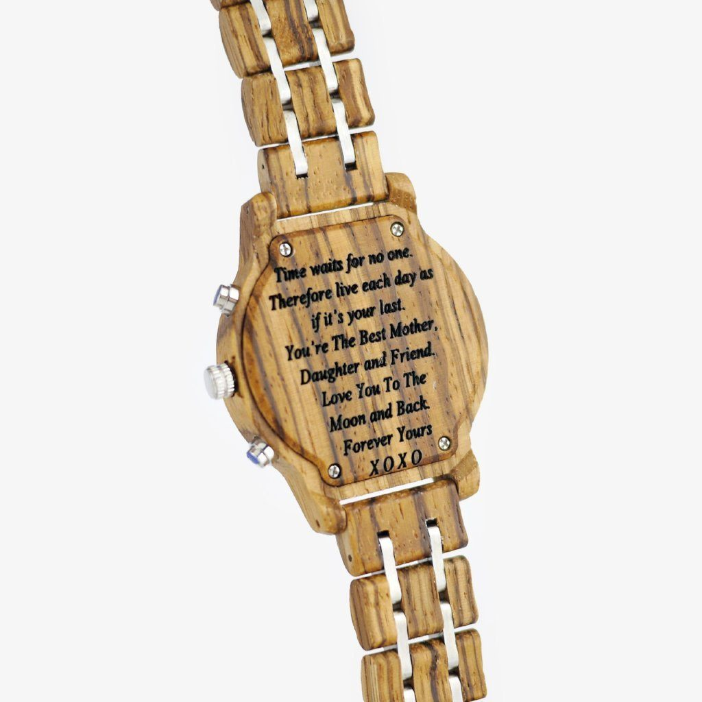 engraved wood watch for her