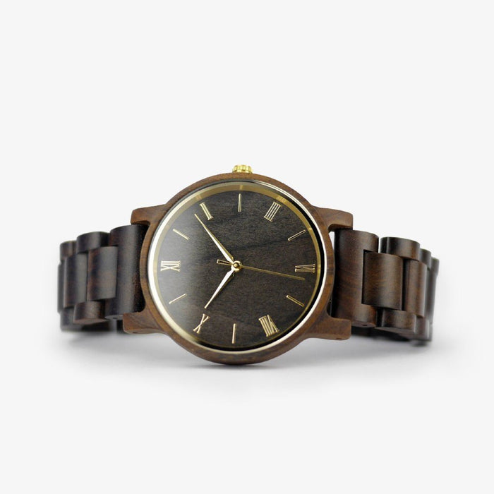 gold minimalist wood watch