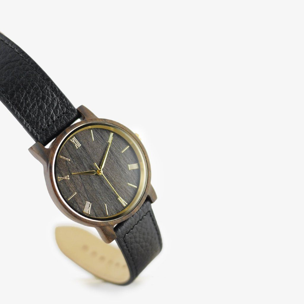 minimalist wood watch leather strap