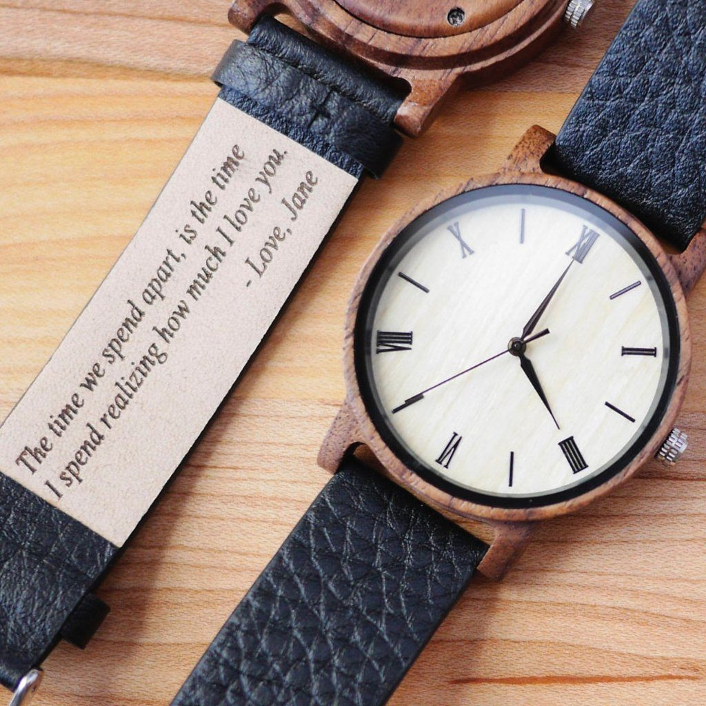 custom engraved text wood watch