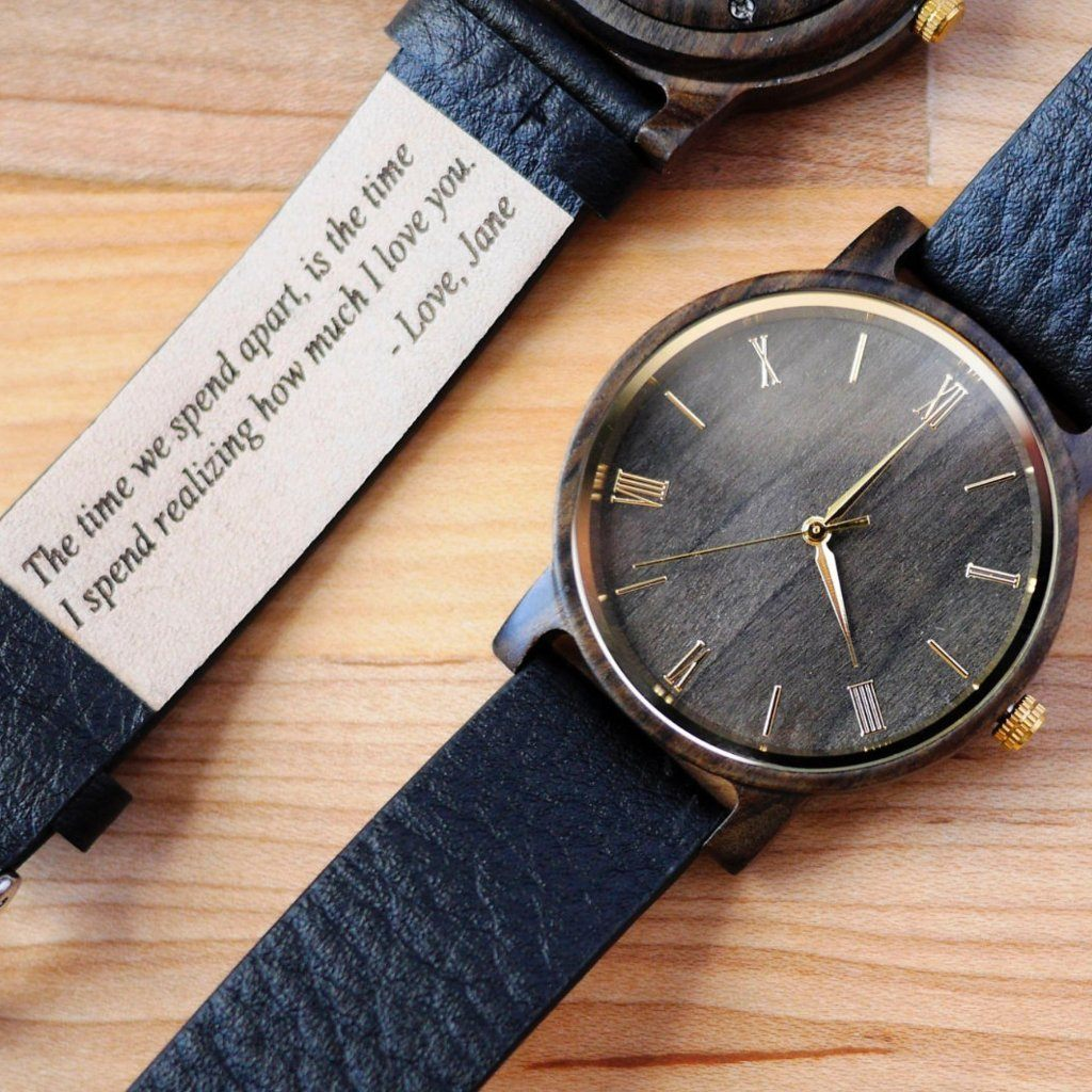 engraved leather strap watch