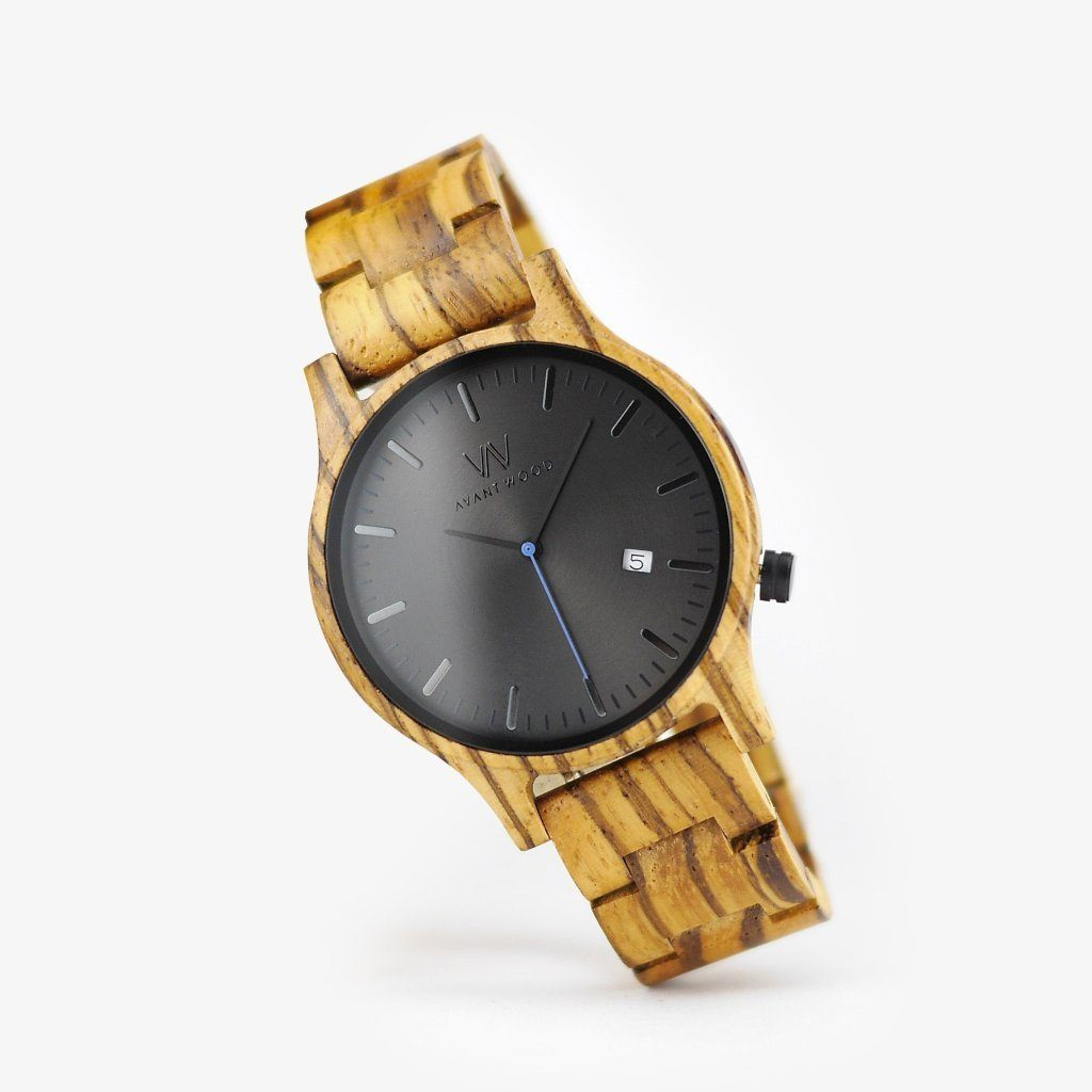 handcrafted zebra wooden watch