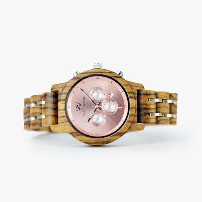 rose gold wood watch