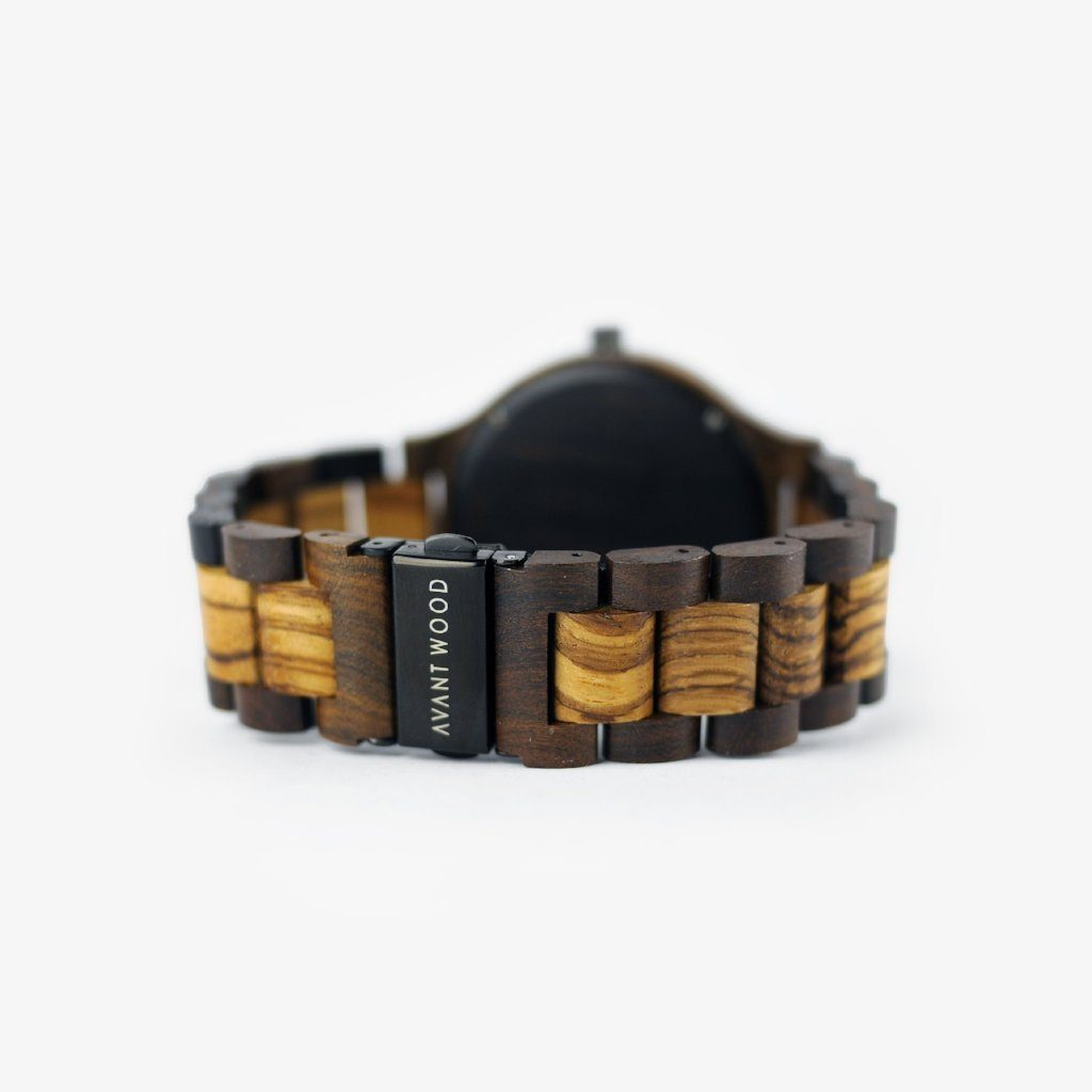 butterfly clasp zebra wood watch