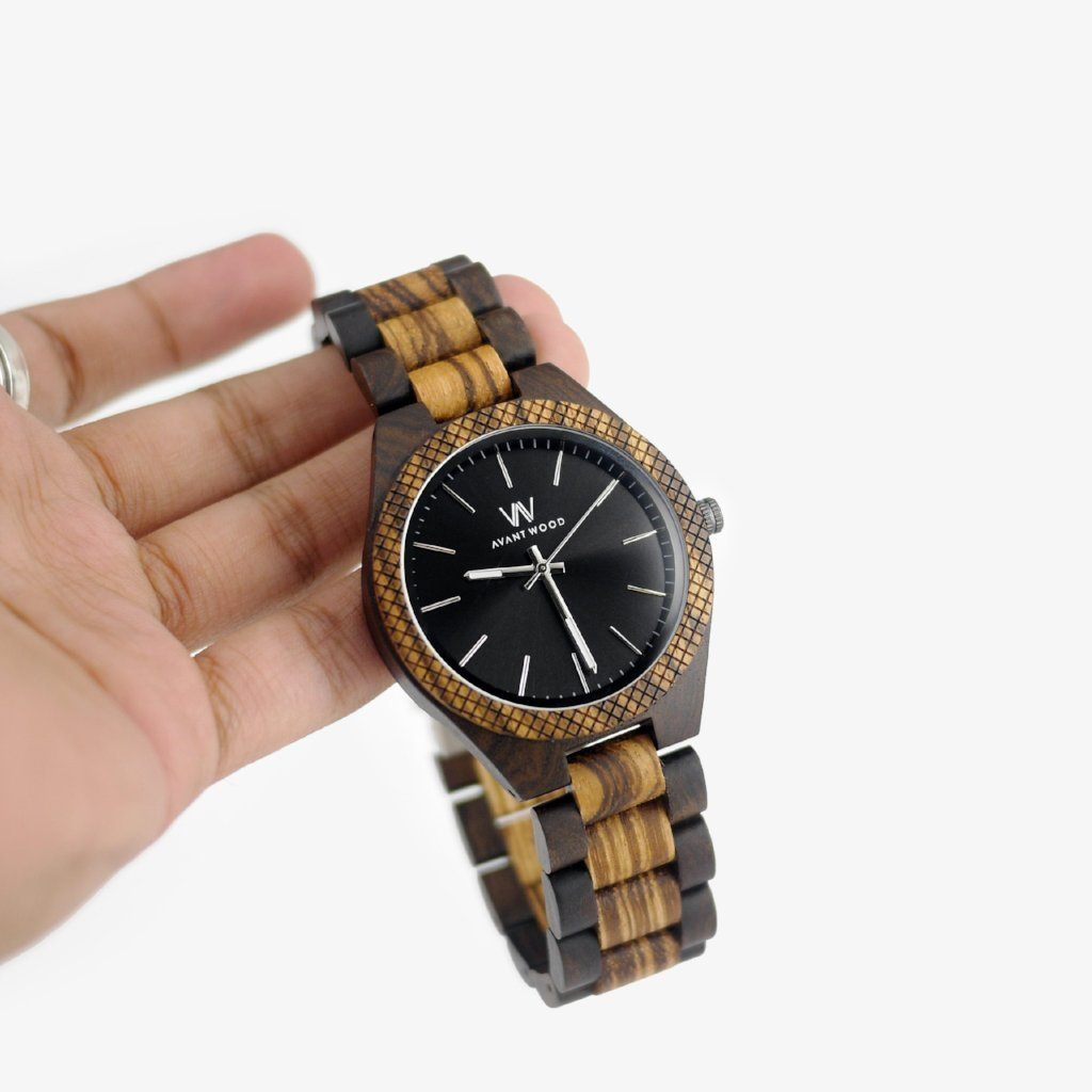 handcrafted zebra wood watch
