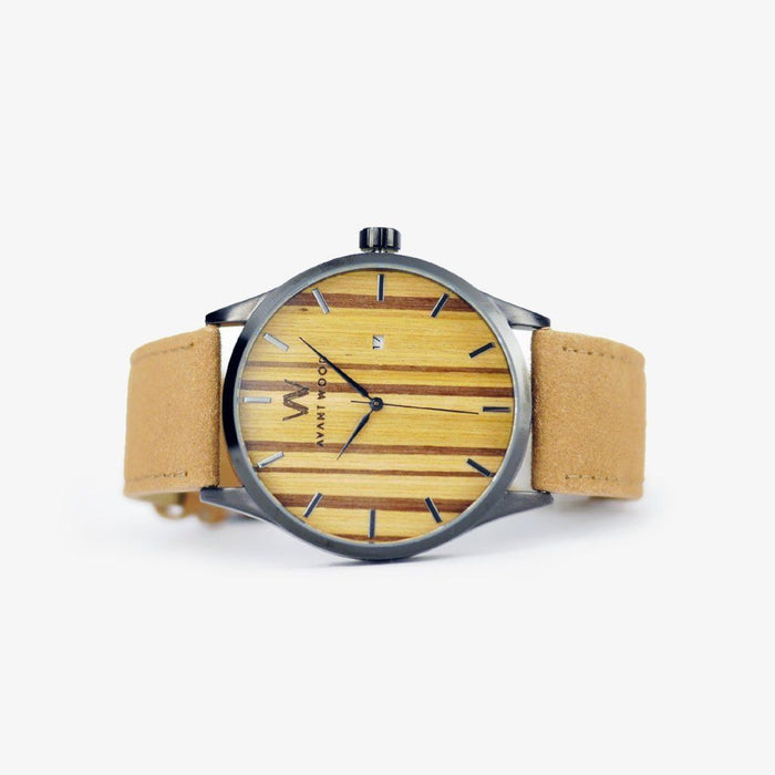 Zebra wood watch leather strap