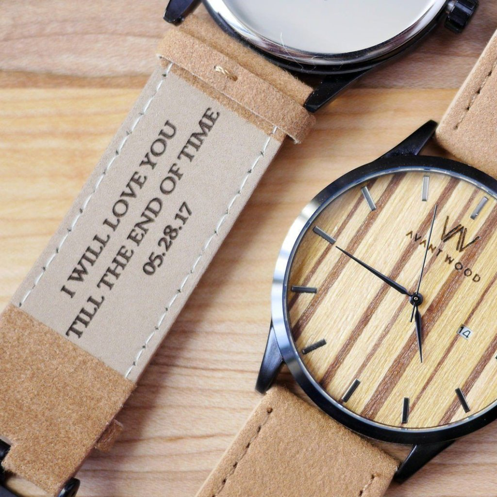custom engraved leather strap wood watch