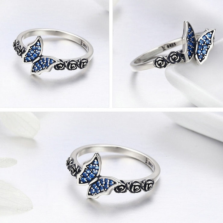 Sterling Silver Butterfly Rose Ring
