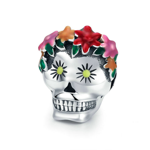 Sterling Silver Day Of The Dead Skull Charm