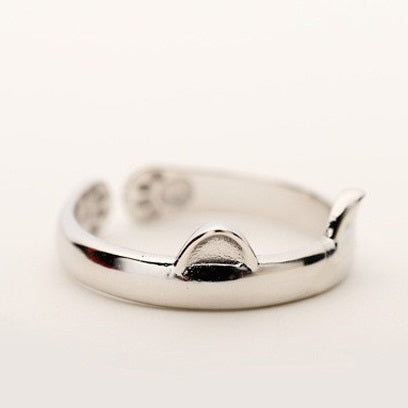 Adjustable Cat Ears Silver Ring