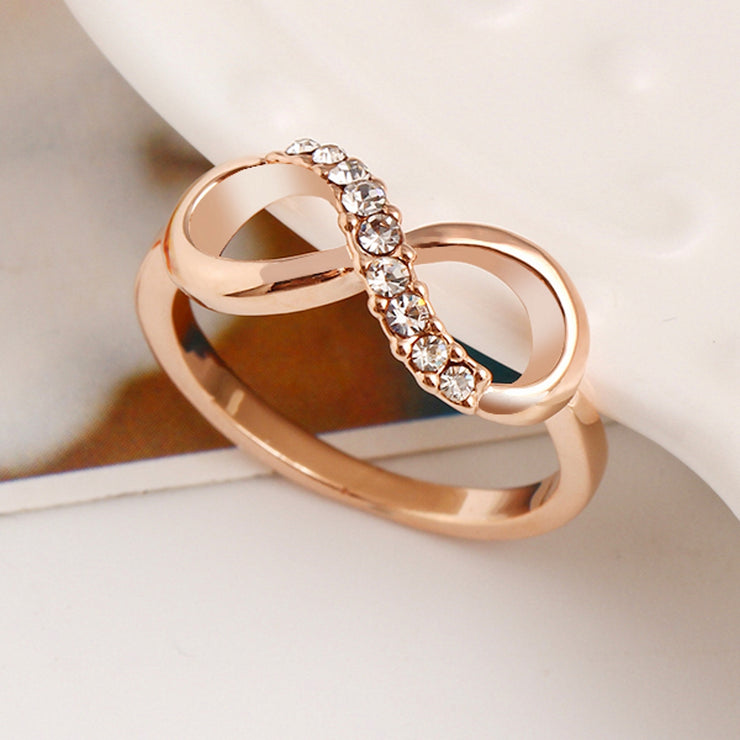 Crystal Gold Infinity Ring