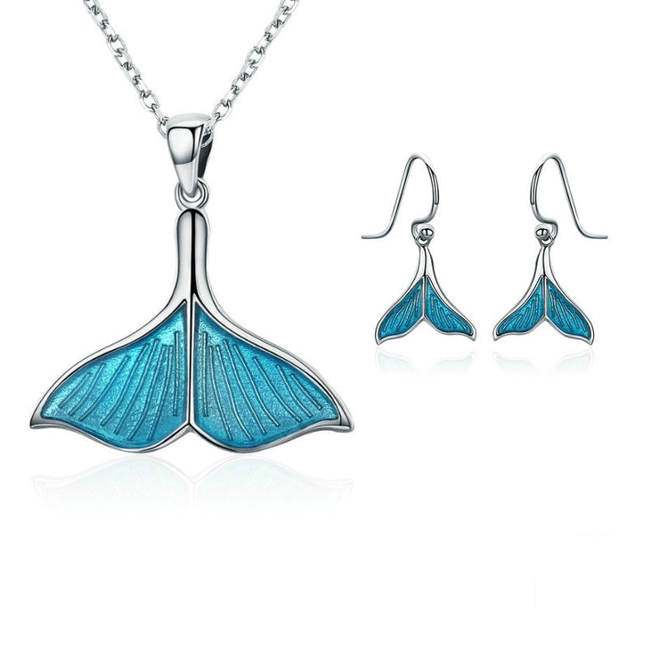 Sterling Silver Mermaid Tail Jewelry Set