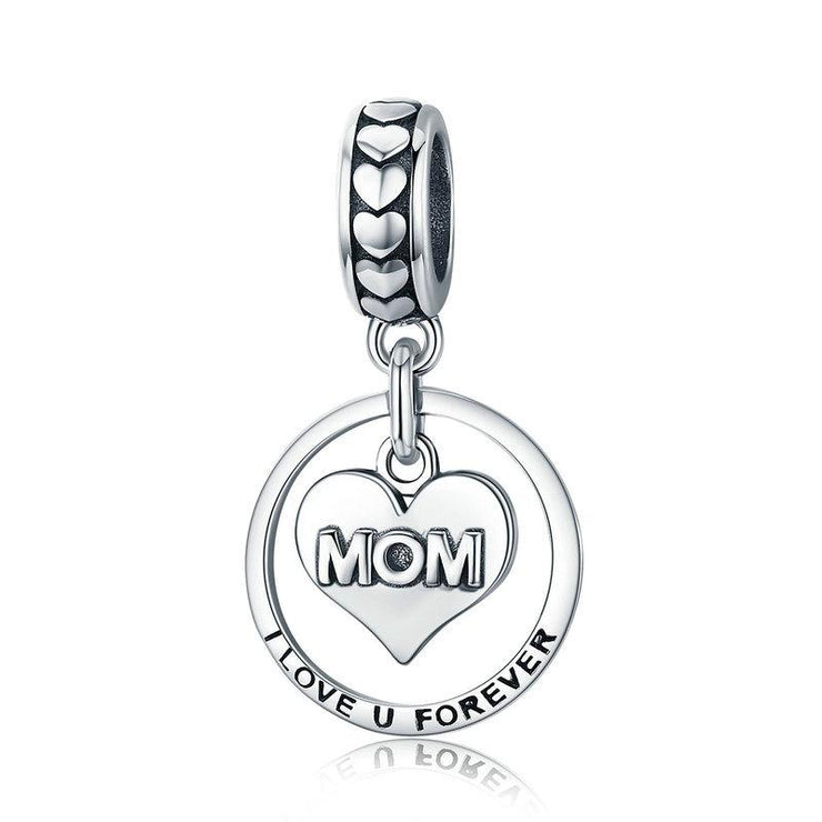 Sterling Silver I Heart Mom Charm
