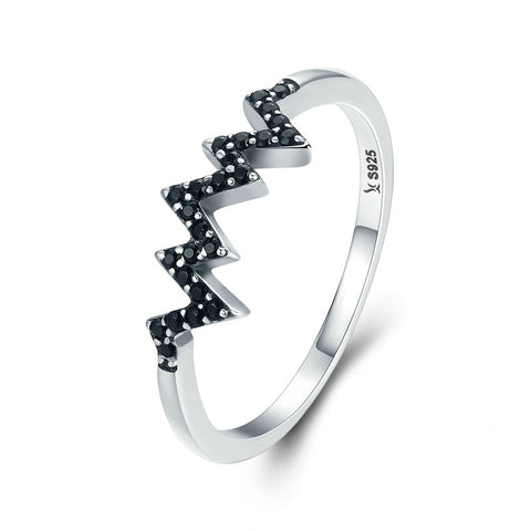 Sterling Silver Black Cubic Zirconia Mountainscape Ring