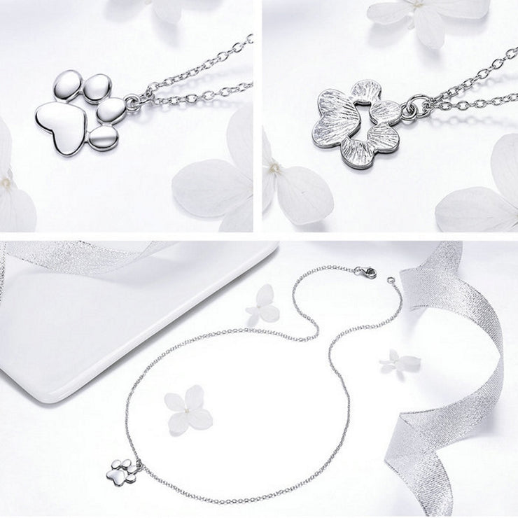 Sterling Silver Pet Paw Necklace